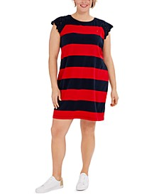 Plus Size Striped Lace-Sleeve Rugby Dress, Created for Macy's