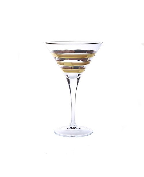 Classic Touch Martini Glass with 14K Gold Brick Design, Set of 4