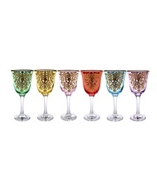 Water Glass with 14K Gold Design, Set of 6
