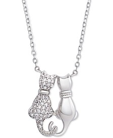 """White Topaz Cat Couple 18"""" Pendant Necklace (3/8 ct. t.w.) in Sterling Silver"""