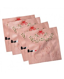"Kiss Me Set of 4 Napkins, 12"" x 12"""