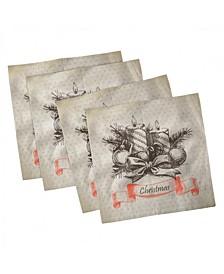 """Vintage-Like Christmas Set of 4 Napkins, 12"""" x 12"""""""