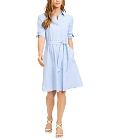 Cotton Striped Shirtdress