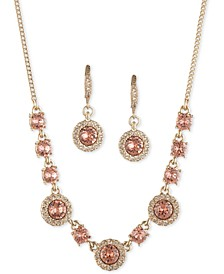 """Crystal Halo Collar Necklace & Drop Earrings Set, 16"""" + 3"""" extender"""