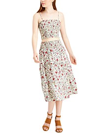 Juniors' 2-Pc. Smocked Floral-Print Midi Dress