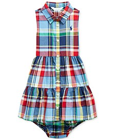 폴로 랄프로렌 여아용 원피스 Polo Ralph Lauren Baby Girls Plaid Cotton Dress & Bloomer,Blue Red Multi