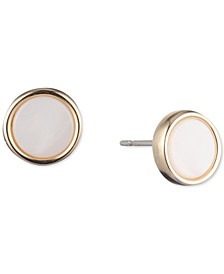 Gold-Tone Mother-of-Pearl Stud Earrings