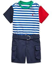 Baby Boys T-Shirt, Belt & Shorts Set
