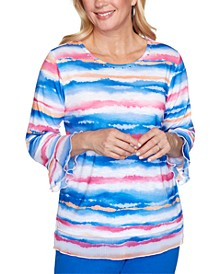 Laguna Beach Watercolor Biadere Knit Top