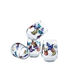 Butterflies Stemless Wine Glass 15-Ounce Set of 4