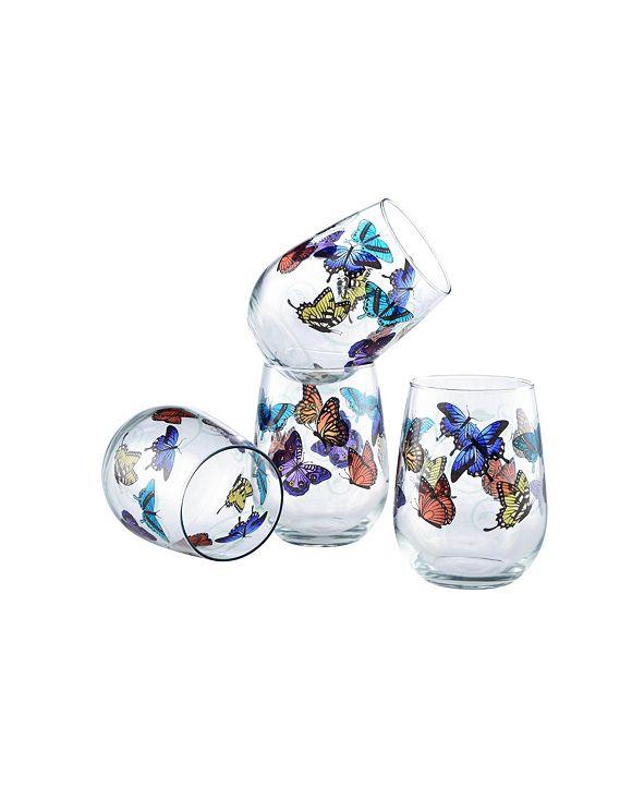 Culver Butterflies Stemless Wine Glass 15-Ounce Set of 4