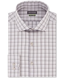 Men's Slim-Fit Non-Iron Stretch Plaid Dress Shirt