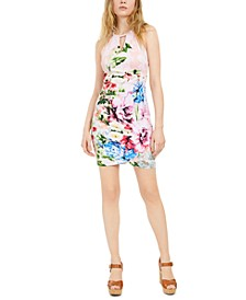 Floral-Print Keyhole Dress