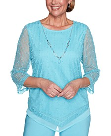 Sea You There Popcorn-Knit Necklace Top