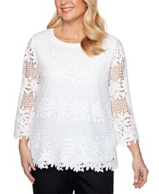 Checkmate Solid Lace Floral Knit Top