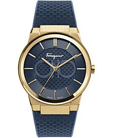 Men's Swiss Sapphire Blue Caoutchouc Rubber Strap Watch 41mm
