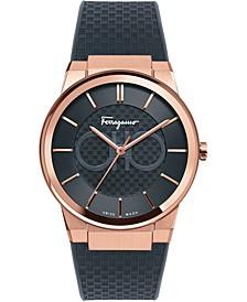 Men's Swiss Sapphire Black Caoutchouc Strap Watch 41mm