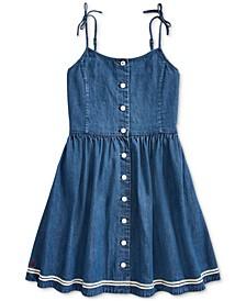 폴로 랄프로렌 Polo Ralph Lauren Big Girls Cotton Denim Fit & Flare Dress,Lorens Wash