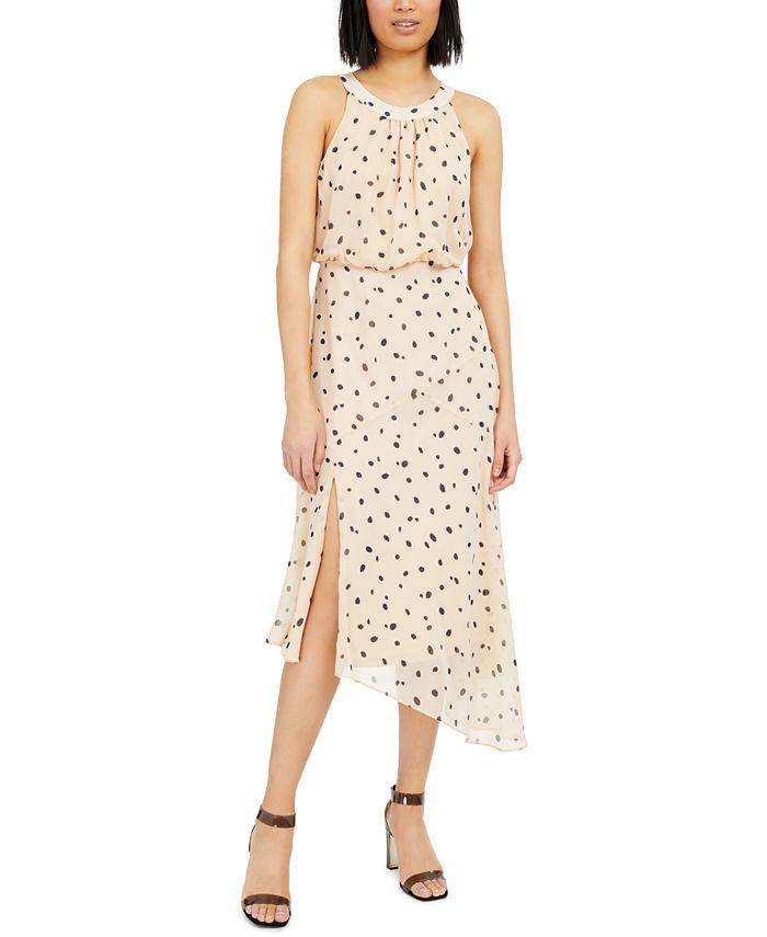 INC International Concepts - Burnout Animal-Print Asymmetrical Midi Dress