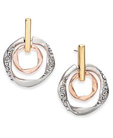 Tri-Tone Pavé Doorknocker Drop Earrings, Created for Macy's