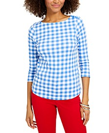 Plus Size Cotton Gingham-Print Top, Created for Macy's