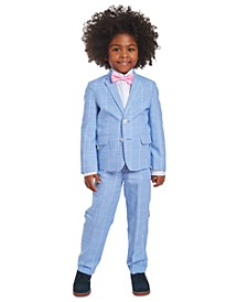 Little Boys 4-Pc. Blue Windowpane Suit Set