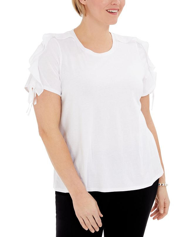 INC International Concepts INC Plus Size Ruffle-Sleeve T-Shirt, Created for Macy's