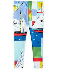 폴로 랄프로렌 여아용 레깅스 Polo Ralph Lauren Little Girls Sailboat-Print Stretch Jersey Leggings,Cream Multi