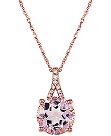 "Pink Amethyst (2-1/2 ct. t.w.) and Diamond Accent 18"" Pendant Necklace in 14k Rose Gold"