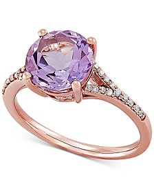 Pink Amethyst (2-1/2 ct. t.w.) & Diamond (1/10 ct. t.w.) in 14k Rose Gold