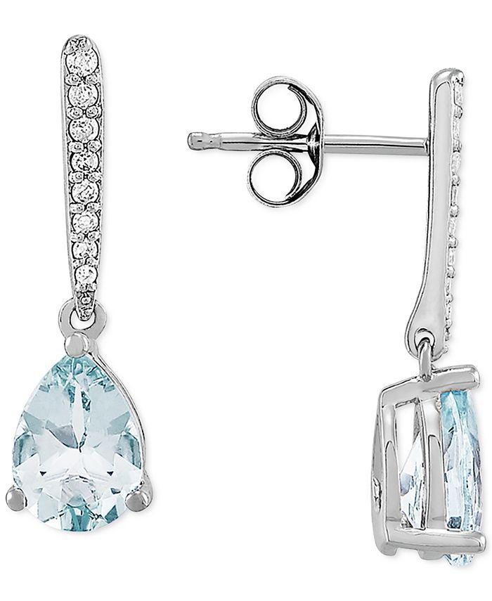 Macy's - Aquamarine (1-1/5 ct. t.w.) & Diamond (1/10 ct. t.w.) Drop Earrings in 14k White Gold