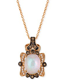 "Neopolitan Opal (1-1/5 ct. t.w.) & Diamond (1/4 ct. t.w.) 18"" Pendant Necklace in 14k Rose Gold"