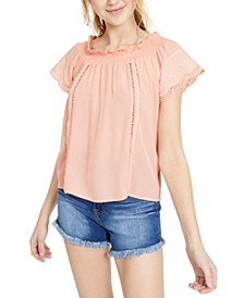 Juniors' Eyelet Off-The-Shoulder Top