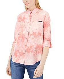 Sunburst Tie-Dye Button-Up Shirt