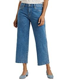 Mid-Rise Wide-Leg Crop Jeans