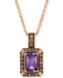 "Grape Amethyst (3/4 ct. t.w.) & Diamond (1/5 ct. t.w.) 18"" Pendant Necklace in 14k Rose Gold"