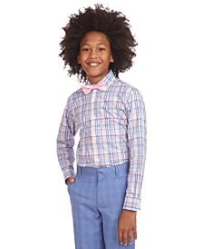 Big Boys 2-Pc. Stretch Blue/Pink Plaid Dress Shirt & Pink Geo Bow Tie Set