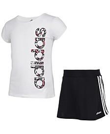 Little Girls 2-Pc. Short-Sleeve Adi T-Shirt & Skort Set