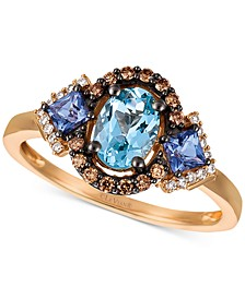 Multi-Gemstone (7/8 ct. t.w.) & Diamond (1/5 ct. t.w.) Ring in 14k Rose Gold