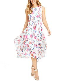 Floral Belted Chiffon Midi Dress