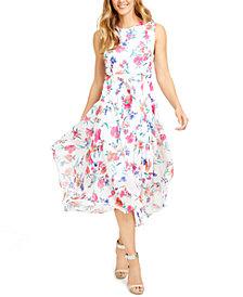 Calvin Klein Petite Floral-Print Belted Midi Dress
