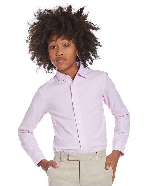 Calvin Klein Big Boys Stretch Textured Dot Dress Shirt