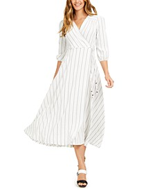 Striped Faux-Wrap A-Line Dress