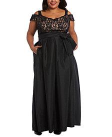 R & M Richards Plus Size Lace-Bodice Cold-Shoulder Gown
