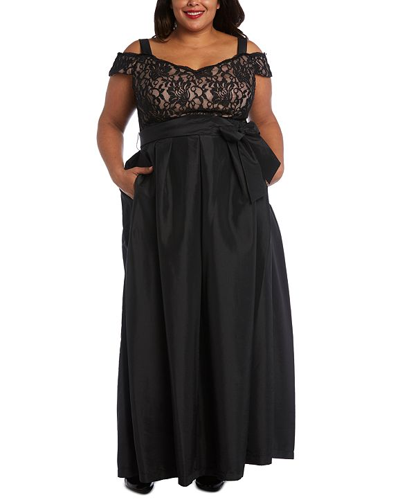R & M Richards Plus Size Lace-Bodice Cold-Shoulder Gown