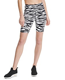 Sport Zebra-Print High-Waist Bike Shorts