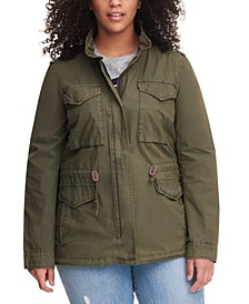 Trendy Plus Size  Cotton Utility Jacket