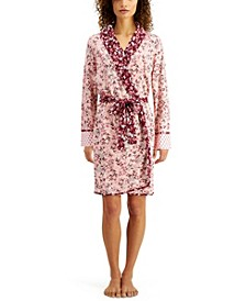 Luxe Floral-Print Knit Wrap Robe