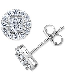 Diamond Princess Cluster Halo Stud Earrings (1/2 ct. t.w.) in 14k White Gold