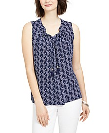 Printed Drawstring-Neck Top, Created for Macy's